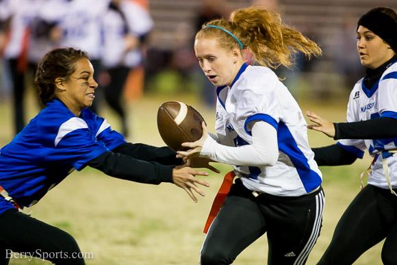 November 17, 2015.   Junior Senior Powder Puff football game.  Seniors win 12-7.
